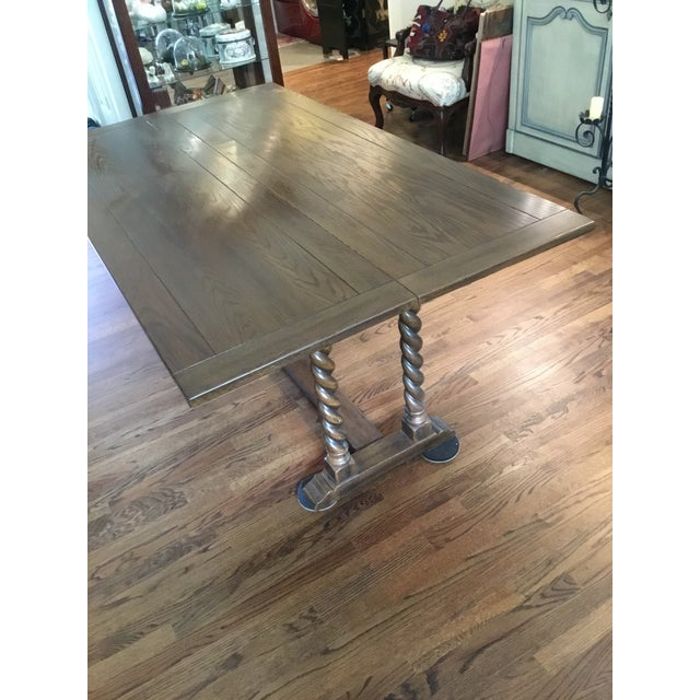 Ethan Allen Jacobean Barley Twist Expanding Banquet Dining Room Trestle Table - Image 9 of 9