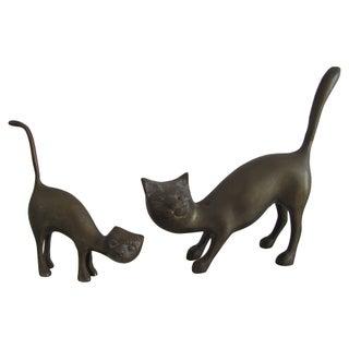 Mid-Century Brass Cat Figurines - A Pair
