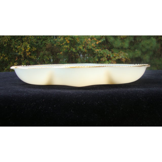 Image of Art Deco Milk Glass Relish Candy Dishes - A Pair