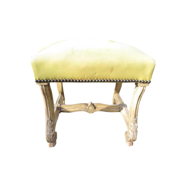 Image of Vintage 1960s Italinate Yellow Leather Stool