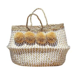 """""""Borrego X Borneo No. 1"""" Pompom Seagrass Easter Belly Basket"""