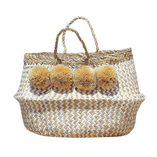 """Borrego X Borneo No. 1"" Pompom Seagrass Easter Belly Basket"