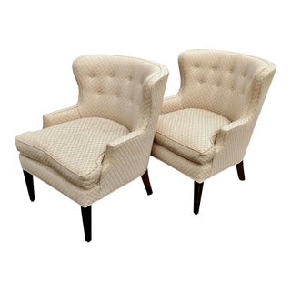 PAIR Clean Vintage UPHOLSTERED Fireplace ARMCHAIRS Bergeres Tuffed Back CLUB CHAIR