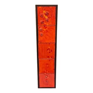 Framed Orange Art Pottery Tiles