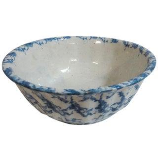 Large 19th Century Spongeware Fluted Fruit Bowl