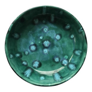 Blue and Green Glazed Mid Century Bowl