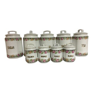 Antique European Ceramic Kitchen Canisters - Set of 9