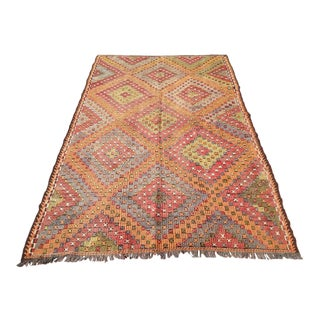 "Vintage Turkish Kilim Rug - 6'6"" x 10'11"""