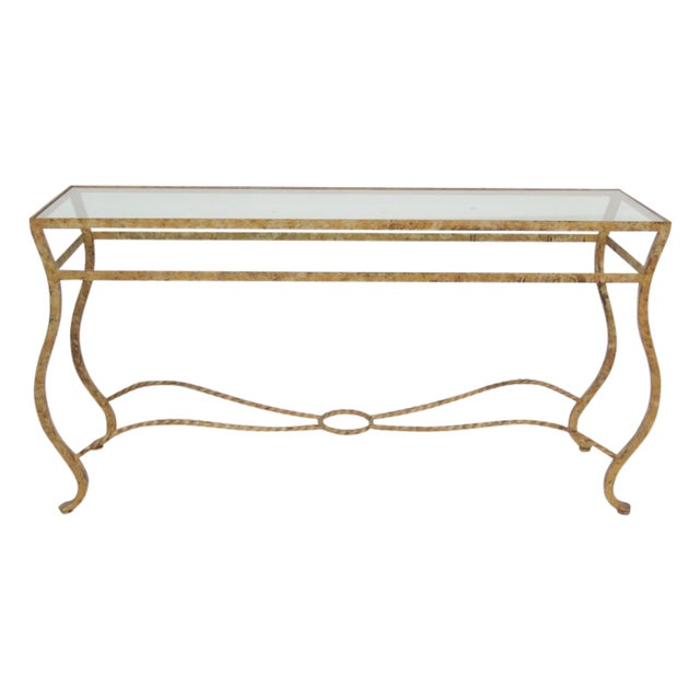 Image of Italian Iron & Gilt Gesso Glasstop Console