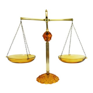 Vintage Amber Glass & Brass Scale