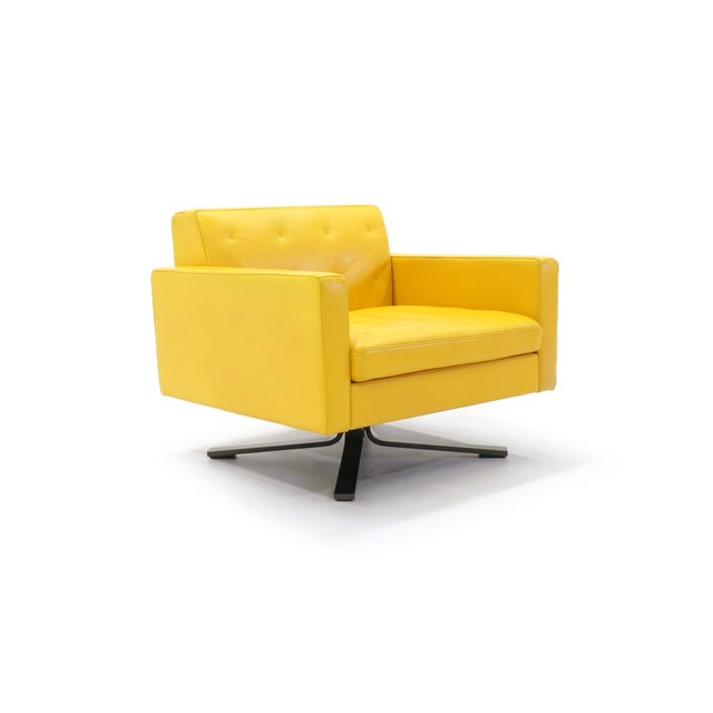Poltrona Frau Yellow Leather Memory Swivel Lounge Chair - Image 3 of 11