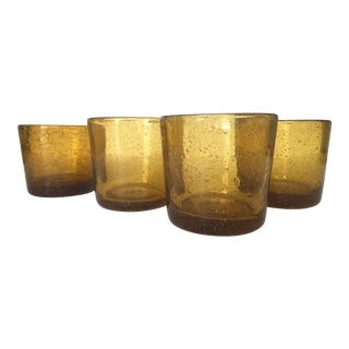 Vintage Amber Blown Glasses - Set of 4