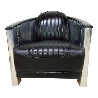 Leather & Aluminum Aviator Armchair