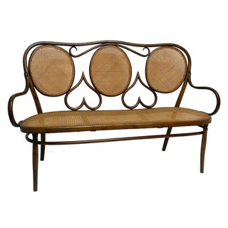 Thonet Style Bentwood & Cane Seat Bench