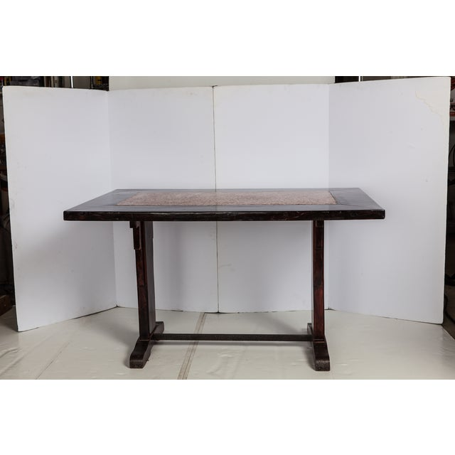 French Wooden Table With Marble Inlay - Image 2 of 6