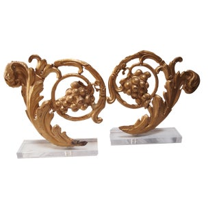 19th C. Gilt Metal Architectural Fragments- A Pair