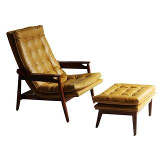 Milo Baughman Mid Century Lounge Chair Ottoman