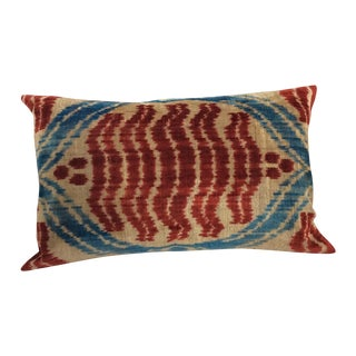 Handloomed Silk Velvet Ikat Pillow
