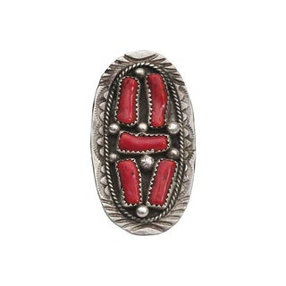 Large Coral & Sterling Native American Ring