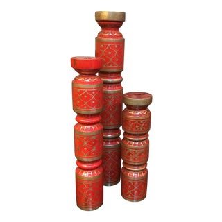 Red and Gold Candlesticks - Set of 3