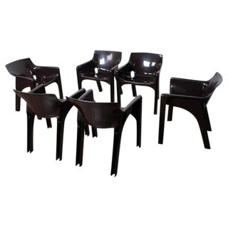 Set of Six Gaudi Dining Chairs by Vico Magistretti