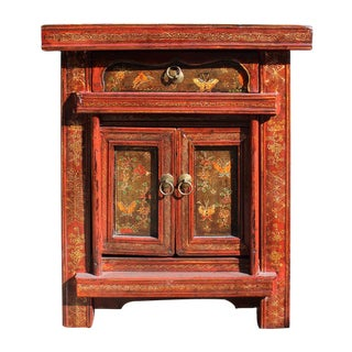 Chinese Vintage Red & Black End Table