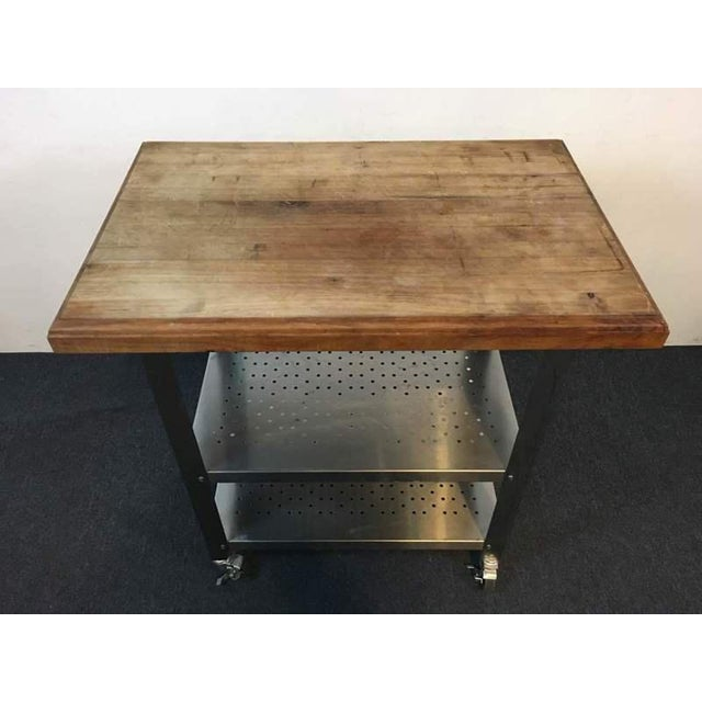 Contemporary Chrome Rolling Kitchen Island - Image 4 of 6