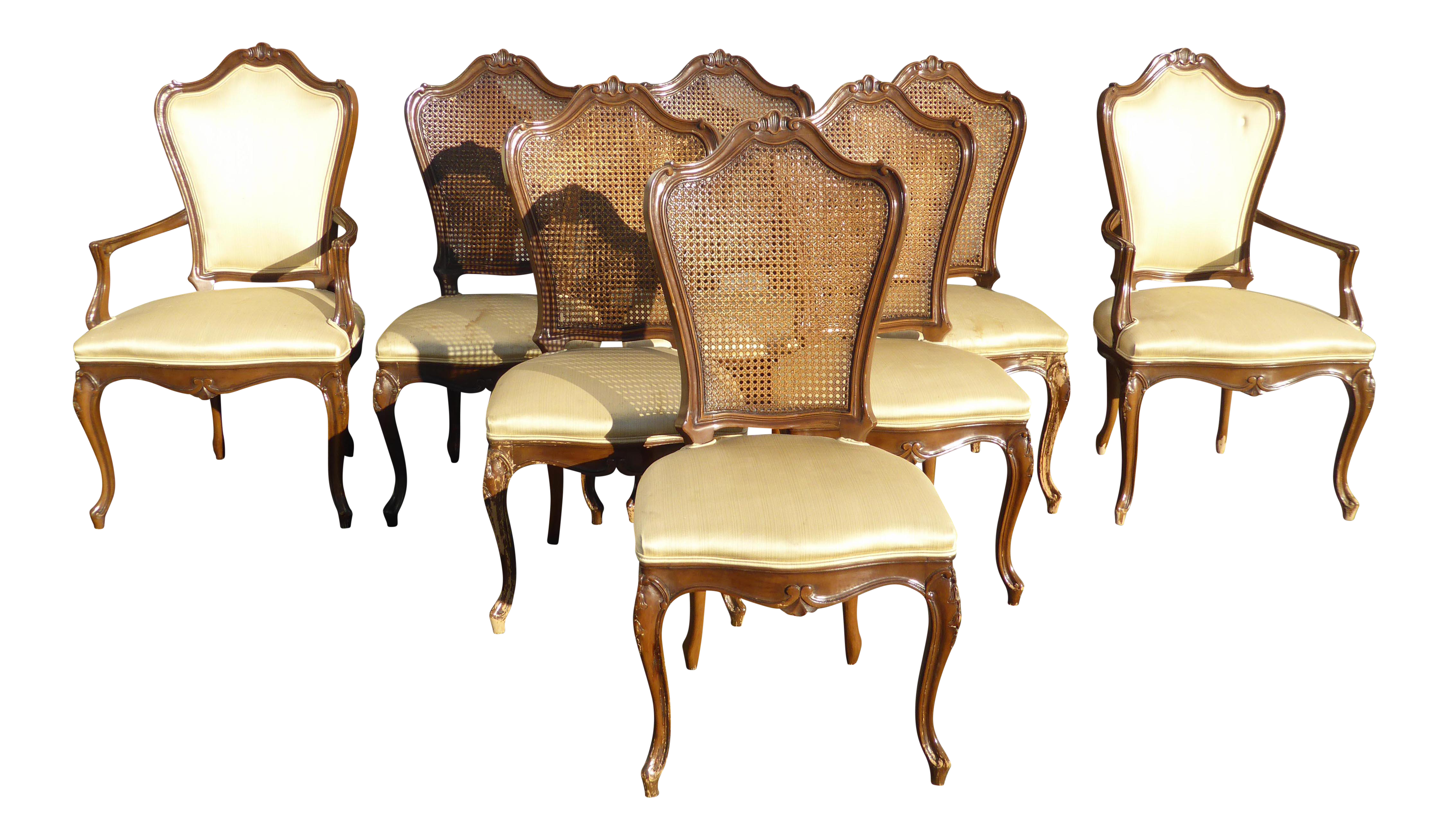 Vintage Karges French Country Style Wood U0026 Cane Dining Chairs   Set ...