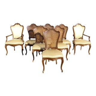 Vintage Karges French Country Style Wood & Cane Dining Chairs - Set of 8