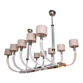 Large 10 light Murano glass modern Seguso chandelier