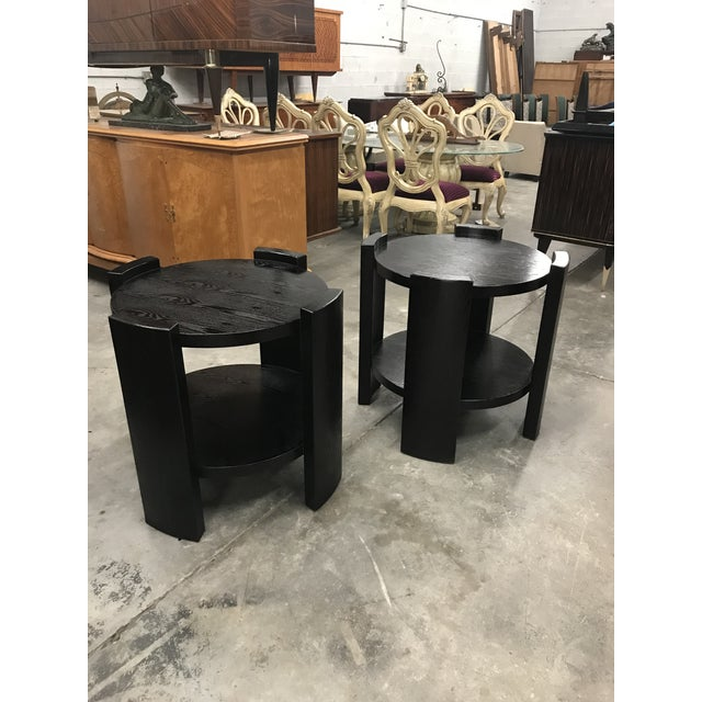 French Art Deco Solid Ebonized Cerused Oak Coffee Tables - A Pair - Image 7 of 11