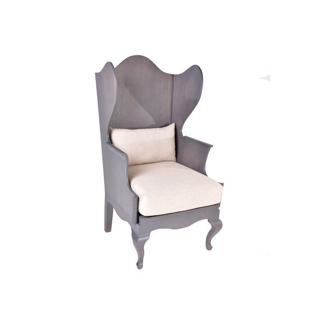 Wood Wingback Chair - Image 2 of 6