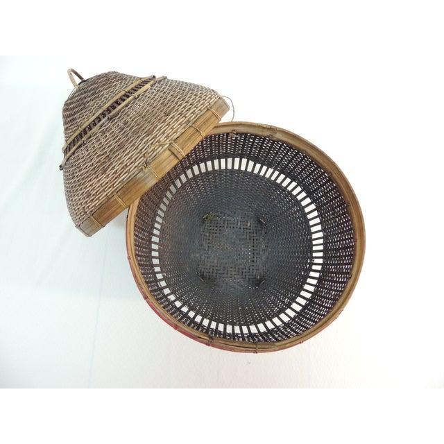 Vintage Asian Lidded Woven Basket - Image 4 of 4