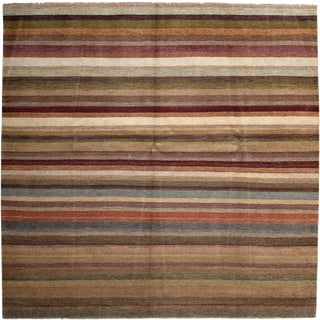 """New Tonal Stripe Hand Knotted Area Rug - 8'2"""" x 8'2"""""""