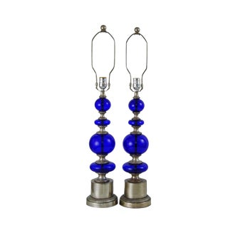 Contemporary Bronze & Cobalt Glass Table Lamps - A Pair