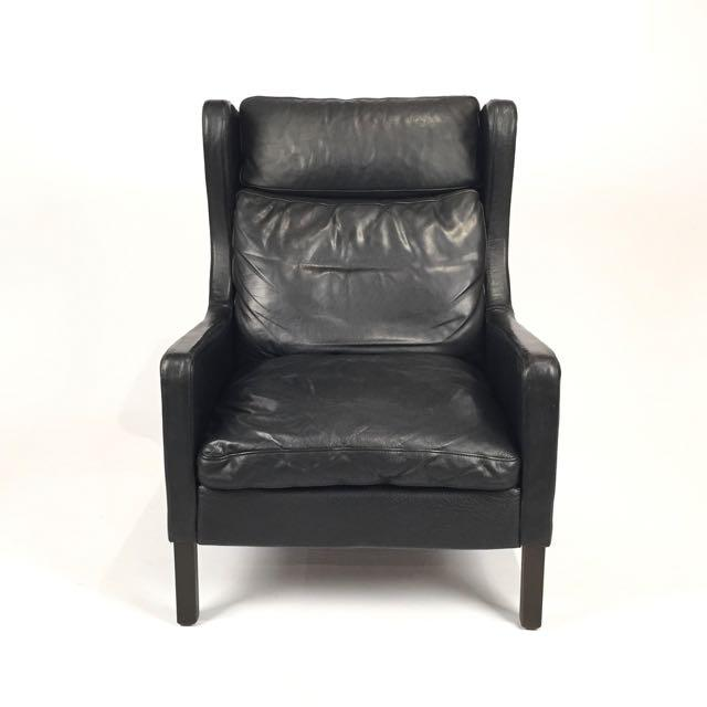 Vintage Danish Black Leather High Back Chair & Ottoman - Image 2 of 5