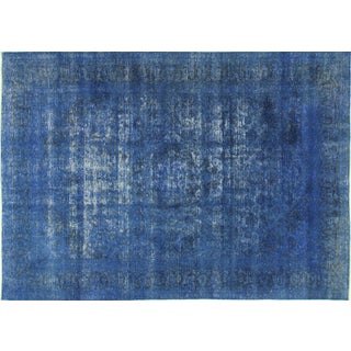 "Oriental Blue Overdyed Floral Rug - 9'5"" x 13'3"""
