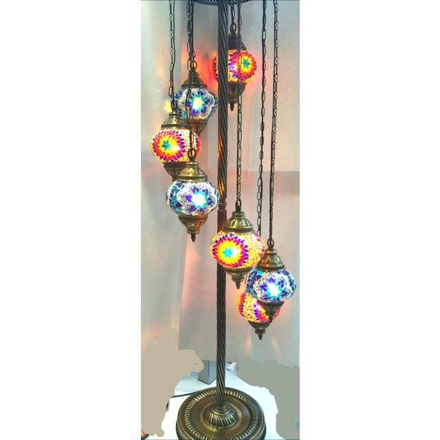 Image of Brass Plated 7 Globe Tile Art Lamp