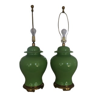 Hollywood Regency Lime Green Ginger Jar Lamps - A Pair