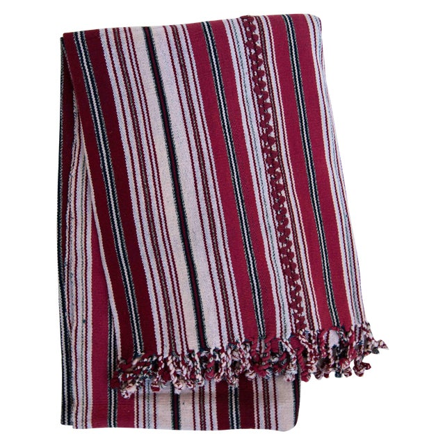 Image of Red & White Handwoven Guatemalan Blanket