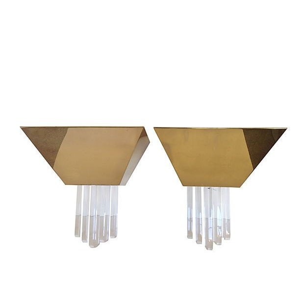 Image of F. Ramond Brass & Lucite Sconces - A Pair