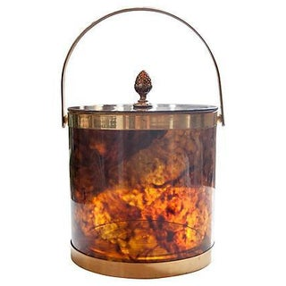 Faux Tortoise Shell Lucite & Brass Ice Bucket