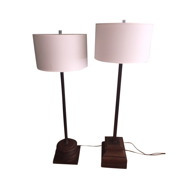Antique Asian Wood & Metal Floor Lamps - A Pair - Image 7 of 7