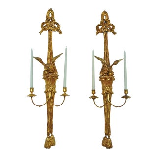 Pair of George III or Federal Carved and Gilt Eagle Sconces