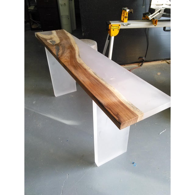 Acrylic Wood Console Table - Image 2 of 6