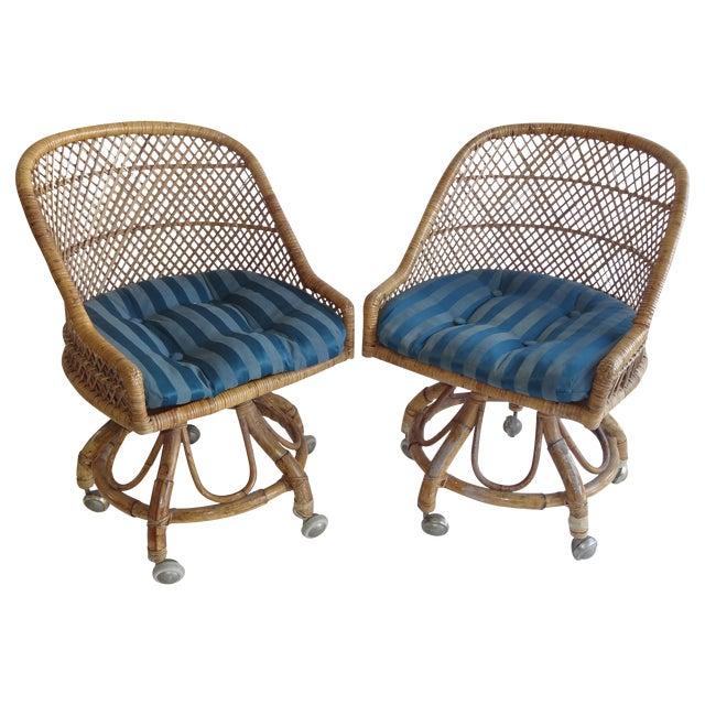 Mcm Wicker Swivel Chairs Set Of 4 Chairish
