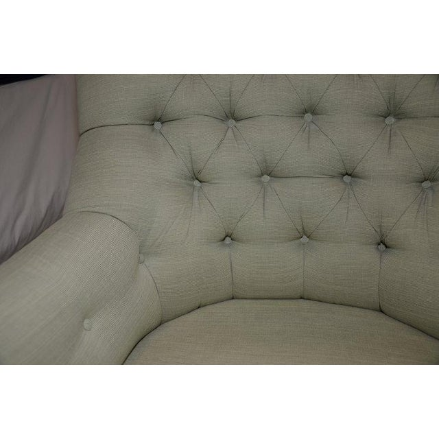 Upholstered Fern Green Tufted Chairs - A Pair - Image 6 of 7