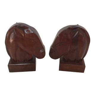 Dramatic Wood Horsehead Bookends - a Pair