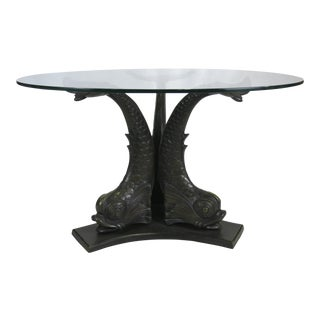 Large Scale Patinated Bronze Venetian Dolphin Dining Table