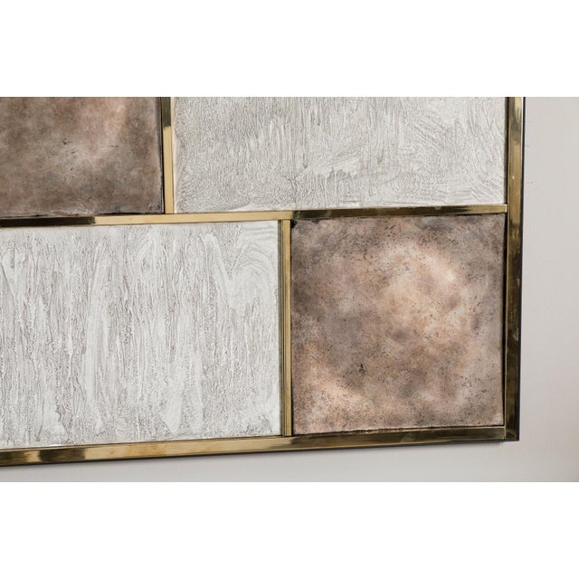 Art Wall Panel With Brass, Distressed Silver Leaf and Textured Finish by Paul Marra - Image 3 of 8